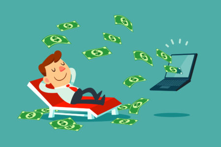 Happy businessman relaxing on beach chair while money come out of his laptop screen.